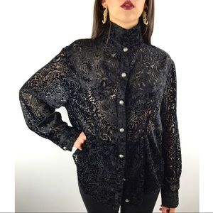 80s black crushed velvet paisley print button down